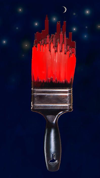 contemporary digital  art- painting the town red