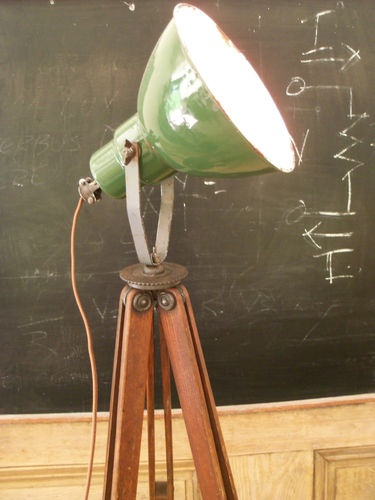 Vintage Repurposed Green Porcelain Spot Light Survey Tripod Loft Lamp Steampunk