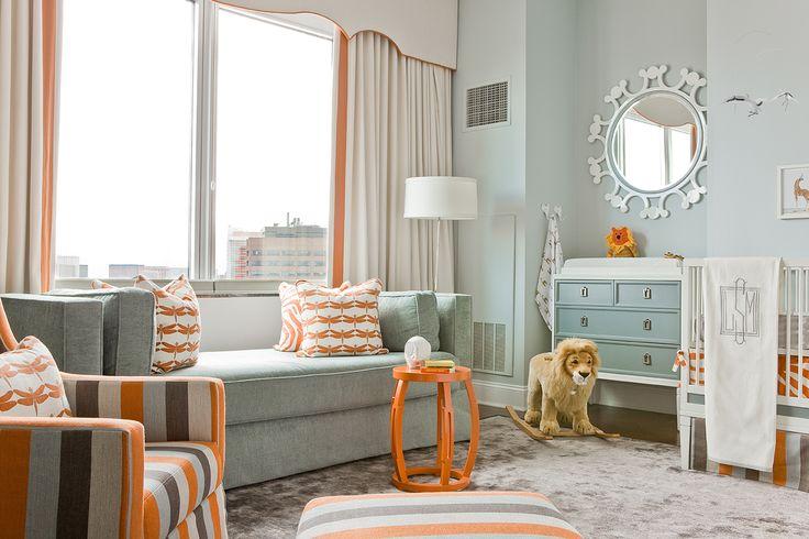 Unusual use of color for a nursery ~ orange & grey ~ Lovejoy Designs Back Bay Penhouse I Nursery