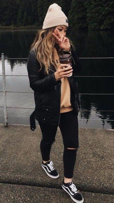 27 Outfits für kaltes Wetter für die Schule #teenoutfit #winteroutfit