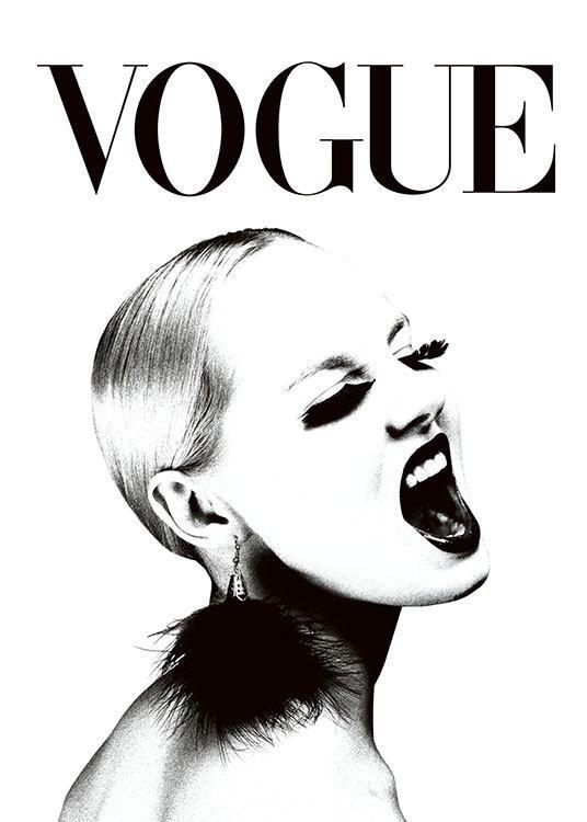 Plakat mit VOGUE-Cover in Schwarz-Weiß. – #mit #p…