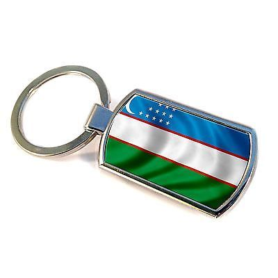 Premium Key Ring with Flag of Uzbekistan