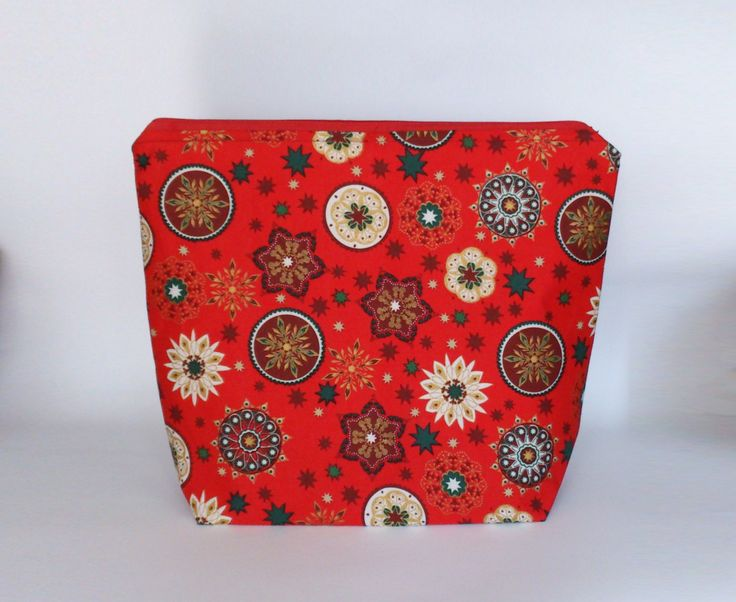 Medium Knitting Project Bag, Red Gold Ornaments Zipper Project Bag, Christmas Crafter Project Bag, Festive Knitting Bag by ManaKori on Etsy