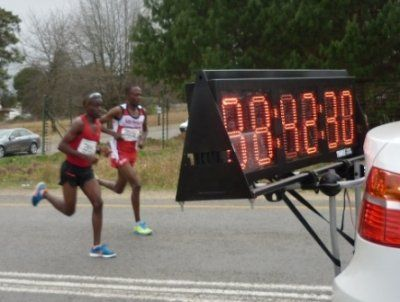 Inaugural #MandelaMarathon 2012 #LookingBack - Brighton Chipere (1) and Munya Jari (2) neck and neck