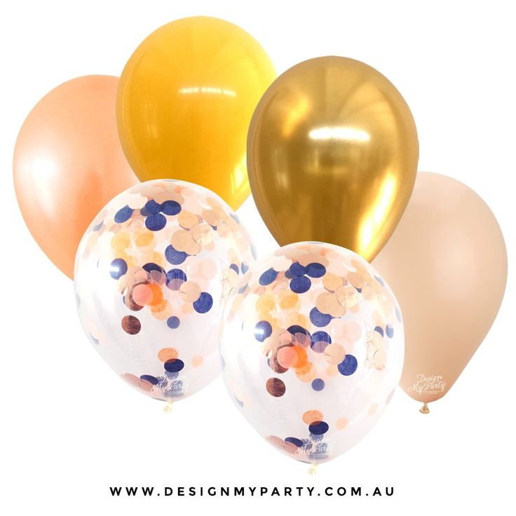 Sunset 2.0 Glam Mix with 2 Confetti Balloons (12 Pack) Peach, Gold, Yellow, Blush