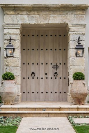 Mediterranean Front Door with exterior stone floors, Pathway, Natural stone, exterior tile floors