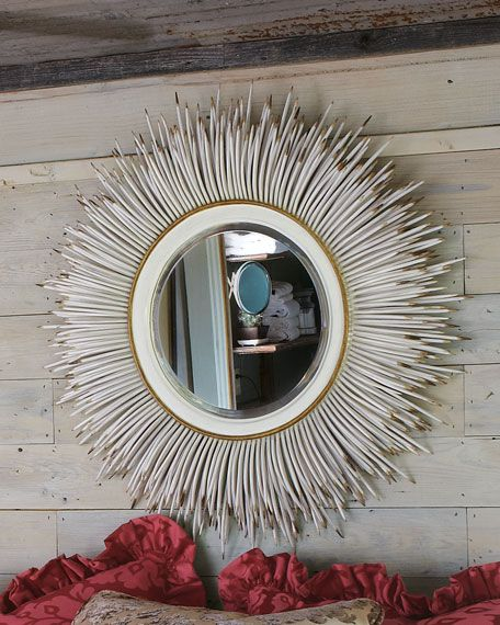 """#ONLYATNM Only Here. Only Ours. Exclusively for You. Handcrafted of wood and wrought iron. Beveled mirror. 33""""Dia. x 5""""D. Imported. Boxed weight, approximately 35.8 lbs."""