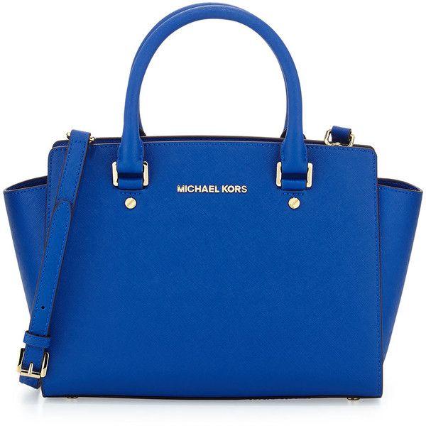 MICHAEL Michael Kors Selma Medium Top-Zip Satchel Bag ($298) ❤ liked on Polyvore featuring bags, handbags, electric blue, royal blue purse, blue handbags, saffiano leather handbag, blue satchel and zip top bag