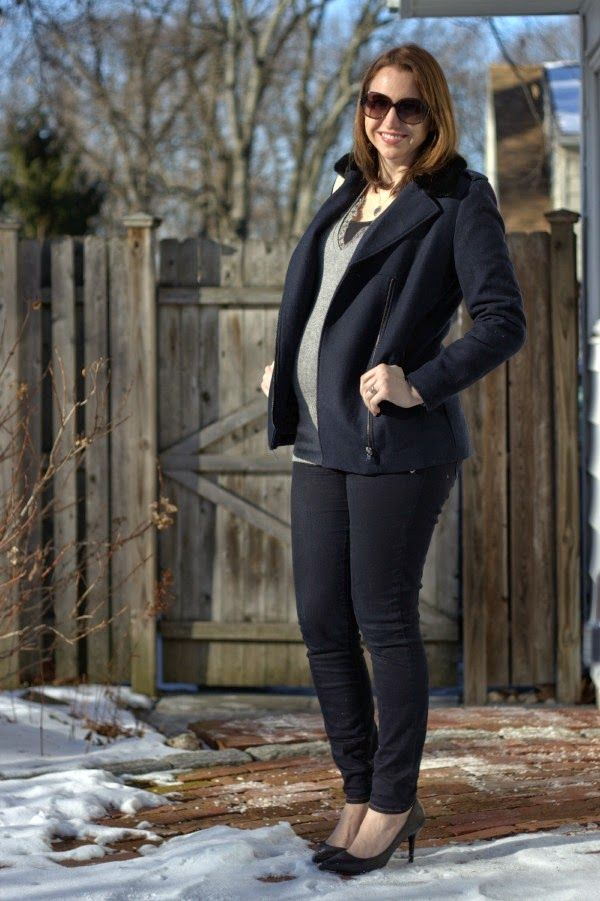 See What Katie Wears: Navy and Gray Winter Maternity Outfit