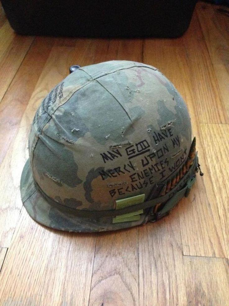 Vietnam M1 Helmet with Mitchel Cover and Helmet Art!