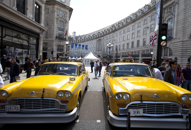 These quintessential NYC taxis got some double takes takes at The World on Regent Street.