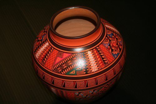 """Pottery Vase 10"""" Hand Thrown Geometric Inca Classic Decor by Sanyork Fair Trade. $79.95. Distinctive traditional pottery that has been influenced very little by modern times. This vase is all hand-built, sun-dried and decorated with natural earth pigments found in the area. Once decorated, they are are low-fired in open fires and then finished with a vegetable-based compound used to waterproof and produce a shine. The pottery is not recommended to hold water. This va..."""
