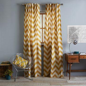 Cotton Canvas Zigzag Curtain – Maize