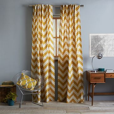 Cotton Canvas Zigzag Curtain - Maize. To act as sheer for dining room curtains in concert with navy blue velvet curtains. (Double rob will be necessary.)