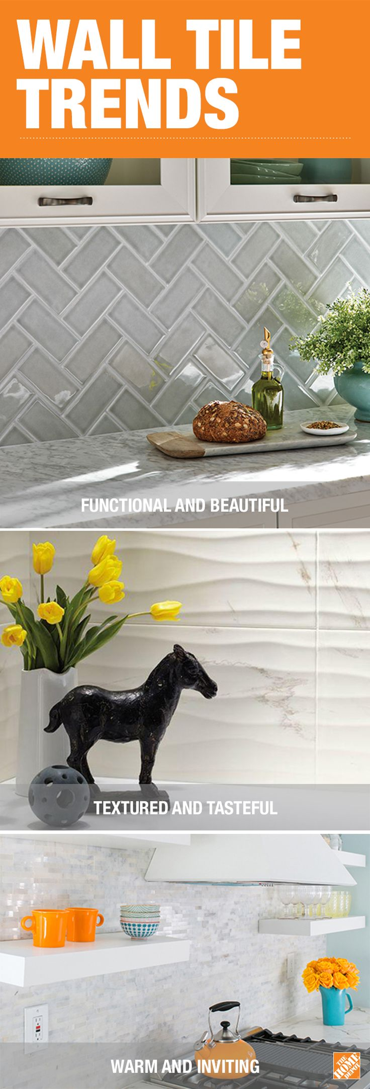 From the latest trends to simple DIY installation ideas, The Home Depot has everything you need to update your home with beautiful, functional tile. For a small project, easy-to-care-for subway tile makes a perfect upgrade for a kitchen backsplash. Or use textured tile to create a focal point and add style to any room in your home. Click to browse the latest trends in durable, beautiful tile that's designed for real life.