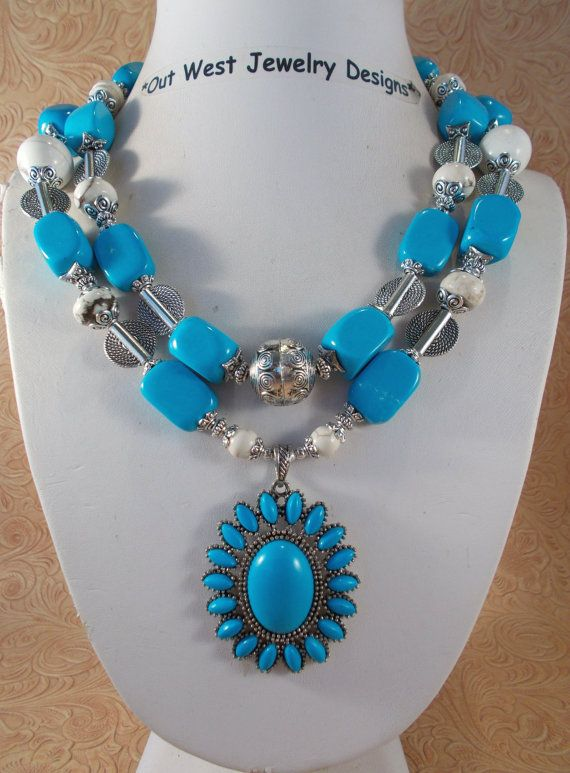 Cowgirl Necklace Set  Chunky Sky Blue Howlite by Outwestjewelry