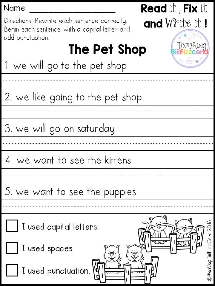 This is a FREE sample from my Fix it up Sentences All Year. This pack includes 10 Free pages.  ***Save big by purchasing Fix It Up! GROWING BUNDLE***  The sentences are not capitalized and not punctuated. Have your students correct and rewrite the sentences. Not only your students get extra practice capital letters and punctuation the sentences, they will also get extra practice reading and writing sight words.  Writing will make your kids think!