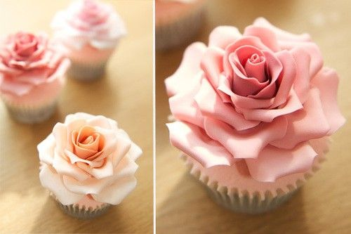 Beautiful rose cupcakes, so pretty don't think I could eat !!