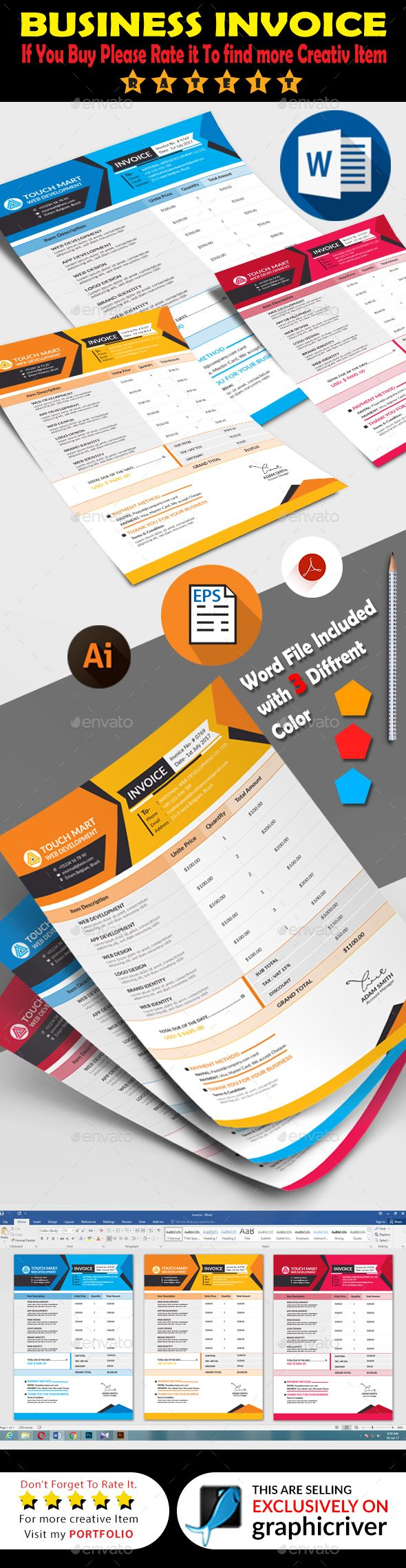 #Invoice - #Proposals & Invoices #Stationery Download here:  https://graphicriver.net/item/invoice/20273793?ref=alena994