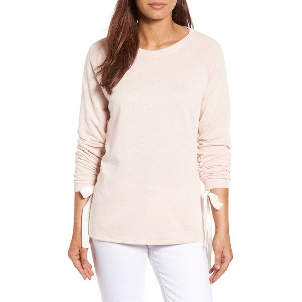 Petite Women's Caslon Tie Ruched Sleeve Sweatshirt ($49) ❤ liked on Polyvore featuring tops, hoodies, sweatshirts, blush, petite, raglan top, raglan sweatshirt, ruched long sleeve top, petite long sleeve tops and raglan sleeve top