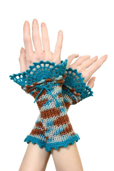 Pure Merino Wool Knitted Wrist Warmers With Turquoise Crochet Lace Decoration