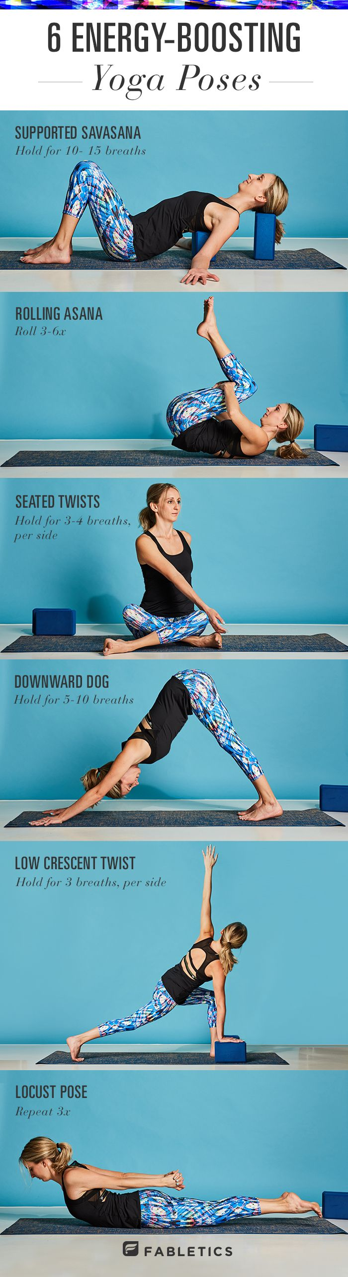 You know those days when you feel lazy, tired and sluggish?  Sometimes it just seems like it doesn't matter how many cups of coffee you have- it's just not working!  Give yoga a try! Here's 6 yoga poses + bonus breath work that will boost your energy and give you that extra bit of gusto to get through your day like the rockstar that you are! | Fabletics Blog