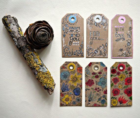 6 Tag regalo uniche dipinte a mano  set di Cestinodimirtilli