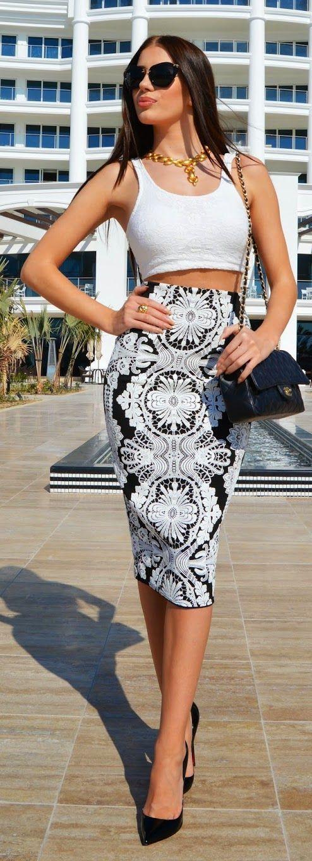 Oriental Print Skirt and Black Pumps - Laura Badur...