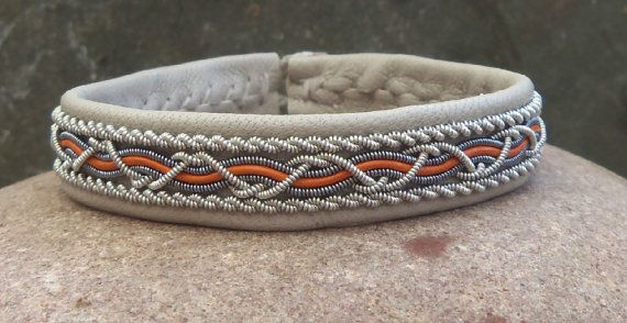 Grey and Tan Swedish Sami Bracelet by spiritofthenorth on Etsy, $59.00