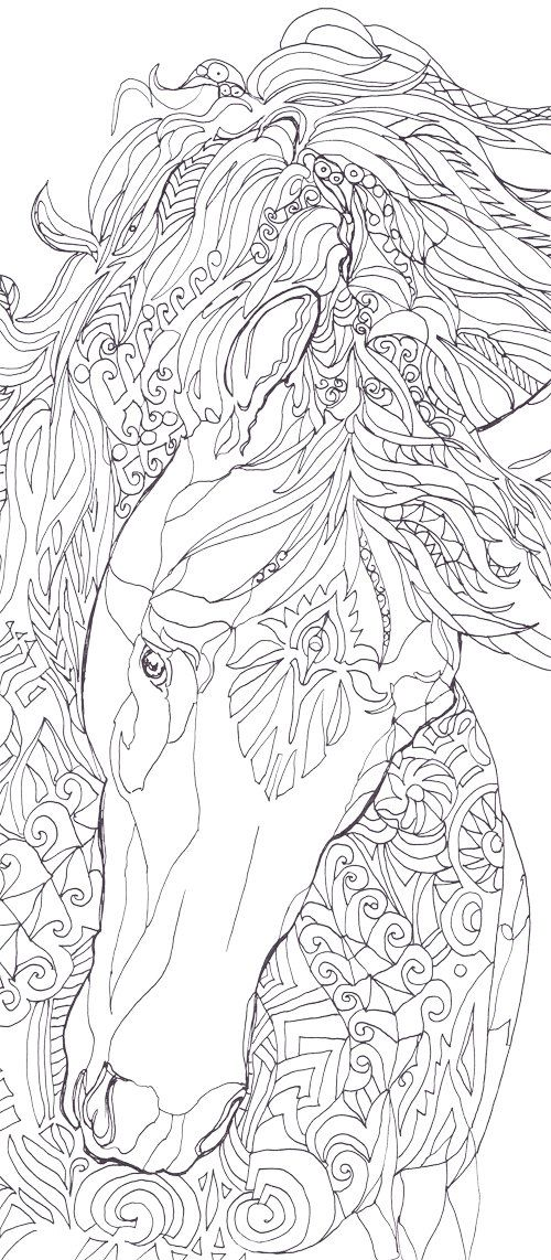 Coloring pages Horse Printable Adult Coloring book by ValrArt