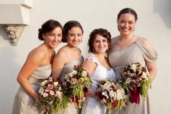 One Shoulder Champagne Colored Bridesmaids Dresses | photography by http://genevieveleiper.com/site.html