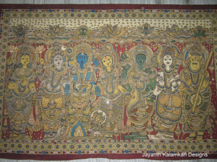 Pen Kalamkari Wall Hangings Code: JKD-WH06 Length: 77 inch Width: 51 inch  Story: Lord Siva Kalayanam