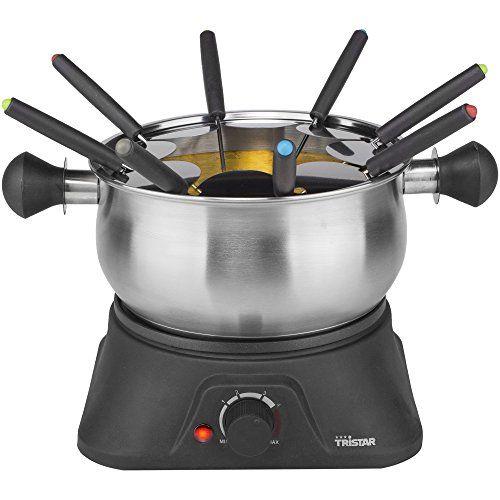 Tristar 2110572 Appareil à Fondue 1,3 L: Idéal pour l'huile, le chocolat, la fondue chinoise et au fromage Thermostat règlable Bol en inox…
