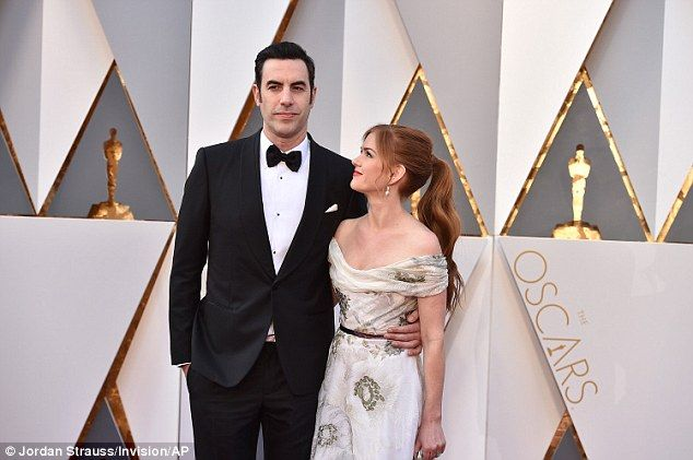 Isla Fisher and Sacha Baron Cohen at the 88th Annual Academy Awards