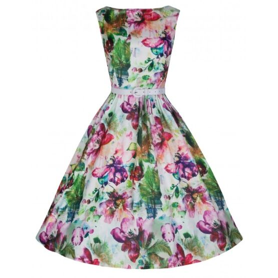 Lindy Bop Audrey Dream Flowers Retro šaty ve stylu 50. let. Nádherné šaty s květinovým potiskem pro romantické duše, vhodné pro letní zahradní párty, na svatby pro svědkyně či družičky nebo pro horké letní dny na běžné nošení. Pestrá paleta barev, dokonalý střih a velmi příjemný, nemačkavý materiál (95% polyester, 5% elastan), skvěle padnou, součástí bílý pásek. Pro slavnostnější výraz doporučujeme pořídit spodničku z naší nabídky.