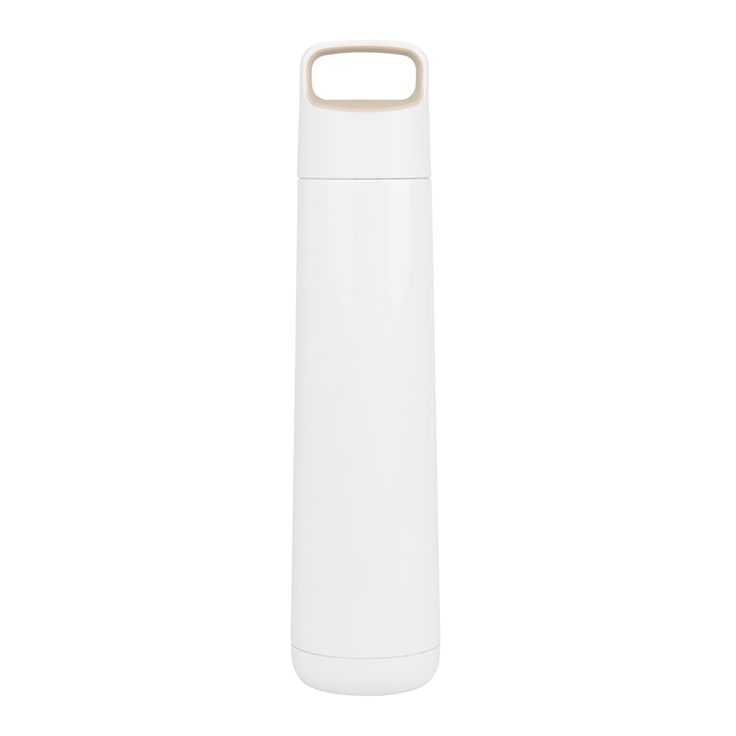 #AddWarmth on the go with this stylish, white flask. Top up with coffee, hot chocolate or soup to sustain you through the day. A handy loop handle makes carrying easy.