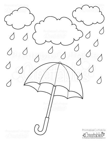 Rainy Day Umbrella Free Printable Coloring Page