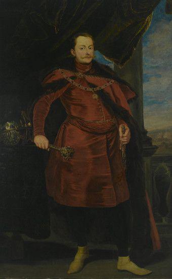 Portret Władysława IV (1595 – 1648, król od 1632); w karmazynowym żupanie sięgającym kolan, do pasa zapiętym na guzy, przewiązanym pasem, w długiej delii podbitej ciemnym futrem i spiętej bogatą zaponą; z orderem Złotego Runa na piersiach; lewa ręka przytrzymuje rękojeść szabli zawieszonej na rapciach u metalowego pasa, w prawej złota buława wysadzana kamieniami. Muzeum Pałacu Króla Jana III w Wilanowie