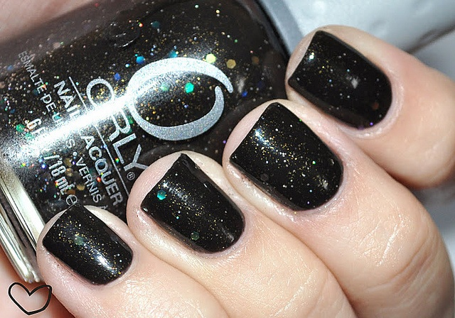 Black glitter done with Orly Androgynie color