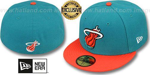 Heat '2T OPPOSITE-TEAM' Aqua-Orange Fitted Hat by New Era on hatland.com
