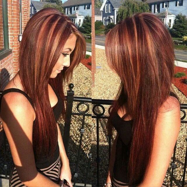 Loving this Long Red Hair with Caramel Highlights ...