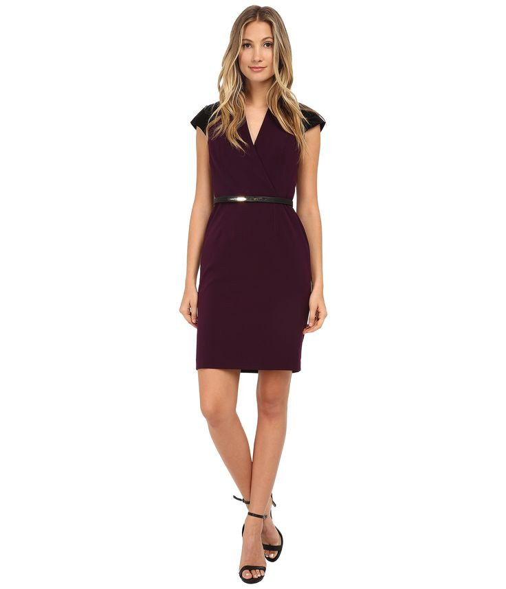 Office dress with short sleeves and waist belt