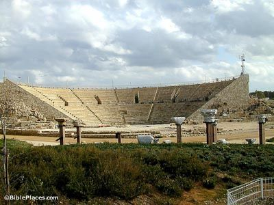 Herodian theater at Caesarea -the place where Herod Agrippa died after being struck by an angel in Acts 12. Josephus the Jewish historian mentioned the same place in his works.