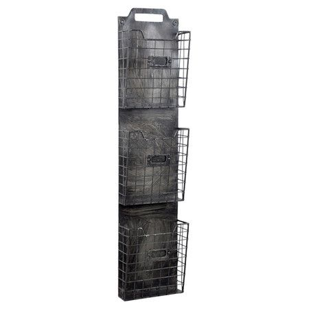 Metal wall organizer with three wire storage compartments.    Product: Wall organizerConstruction Material: Me...