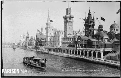 Exposition universelle de 1900, Paris. La rue des Nations et la Seine.