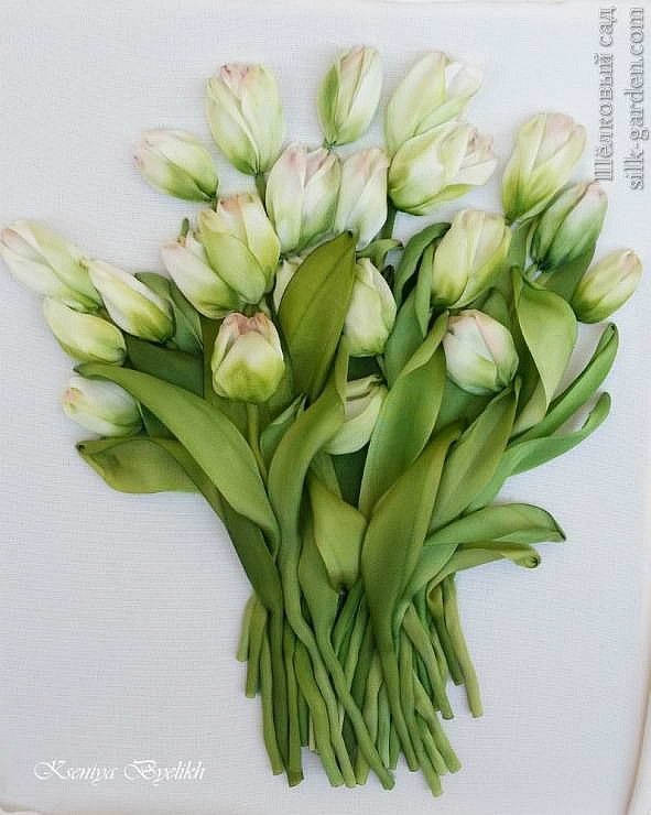 Pink-tipped green tulips of ribbon emroidery  by Kartiny Panno Ксения Белых (Украина)