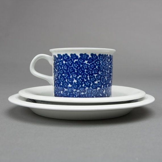 arabia cup faenza blue saucer plate porcelain by northvintage, $79.00