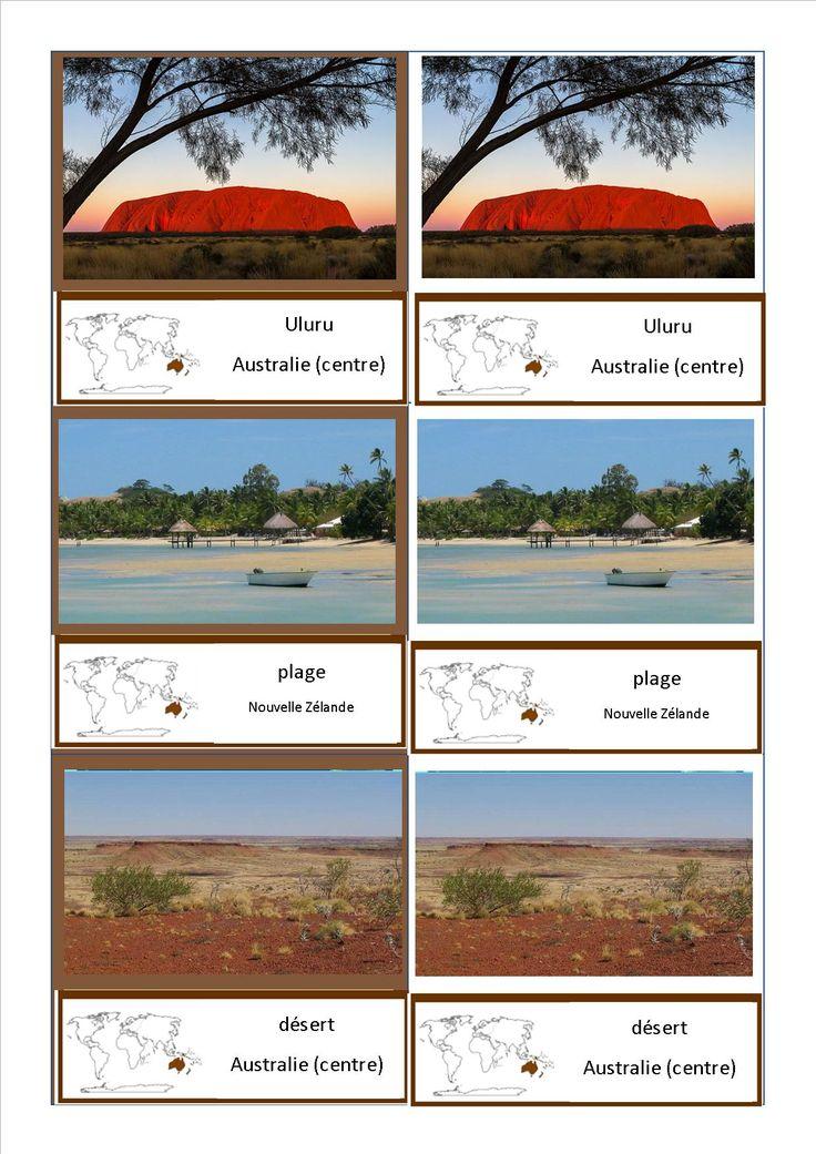 Cartes de nomenclature Montessori des paysages du monde