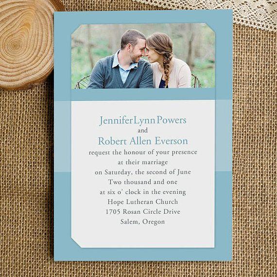 Custom photo wedding invitation set  by ElegantWeddingInvite, $1.50 you can change color