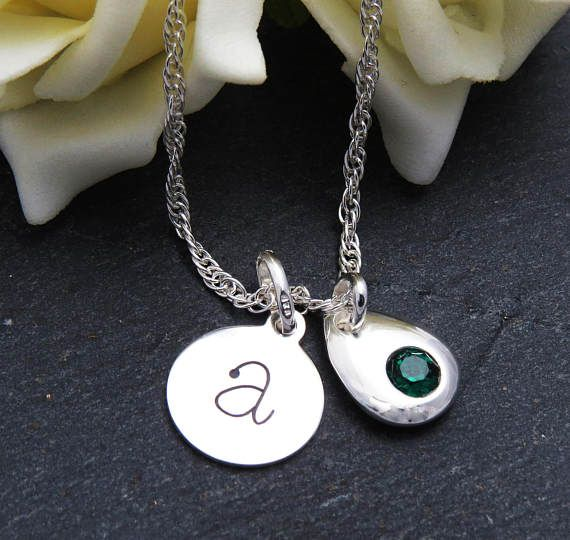 Emerald Green Birthstone Silver Initial Necklace Sterling
